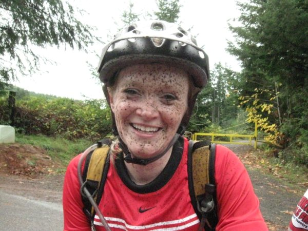Mel with post-ride freckles