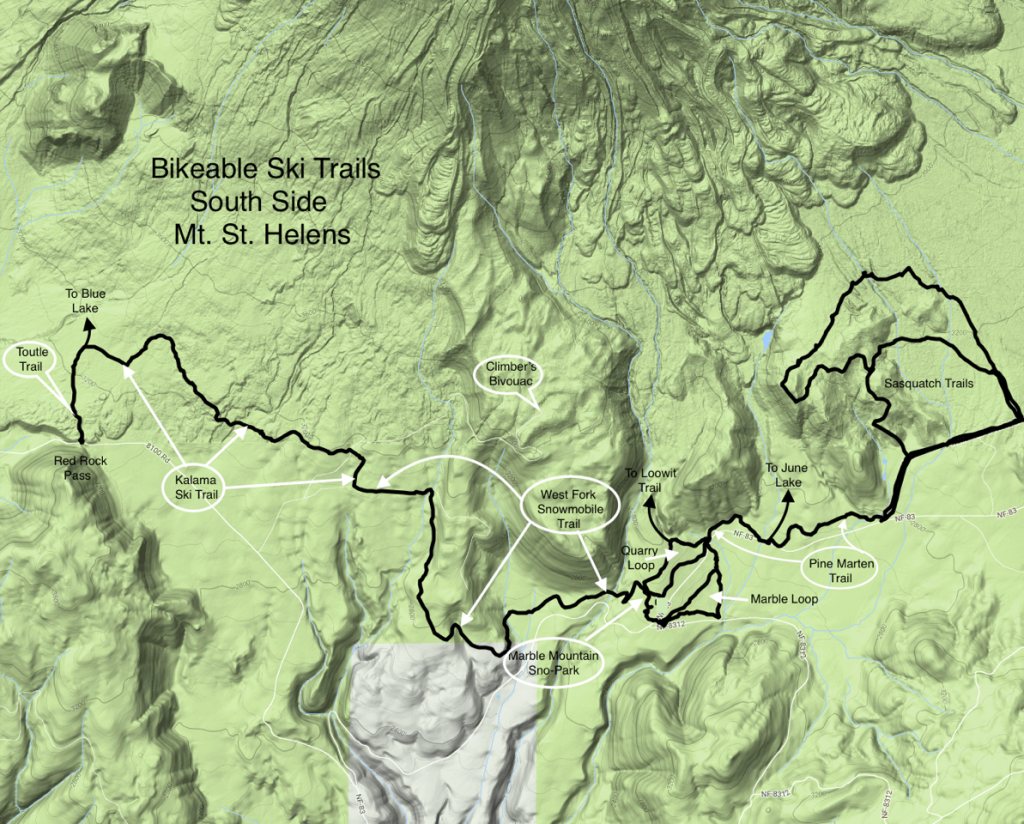 Bikeable Ski Trails South SIde Mt. St. Helens